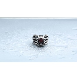 Mens Stainless Steel Skeleton Ring With Red Gem