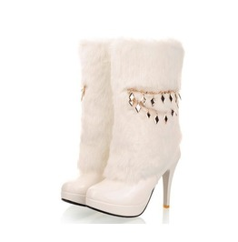 White Fur Snow Bunny Boots With Charm Free International Shipping