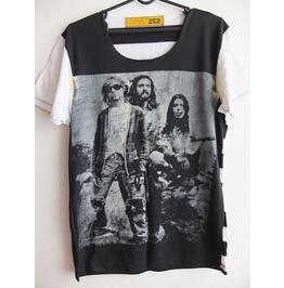 Kurt Cobain Striped Dave Grohl Grunge Punk Rock White T Shirt M