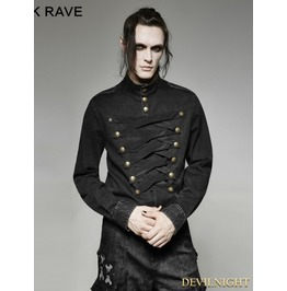 Black Gothic Military Multi Breasted Shirt For Men Y 698