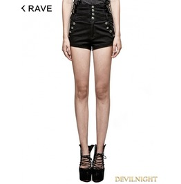 Black Gothic Military High Waisted Shorts For Women K 272