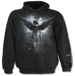 Men New Black Angel Wings Roses Hoody