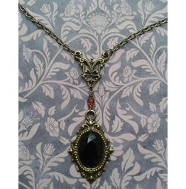 Gothic Steampunk Victorian Style Filigree Bronze Tone Pendant Necklace
