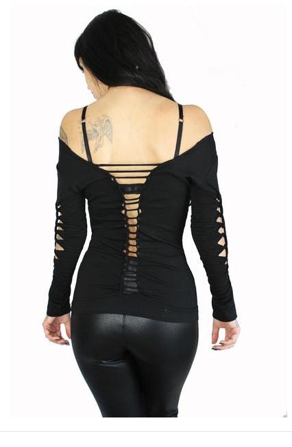 Sexy Slashed Cut Out Diy Rave Punk L/S Gothic Tattoo ...