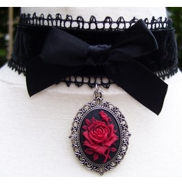 Gothic Victorian Black Velvet Lace Red Cameo Choker