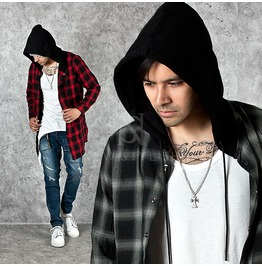Bold Checkered Snap Button Hooded Shirts 148