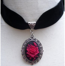 Gothic Victorian Steampunk Black Velvet Red Rose Cameo Choker