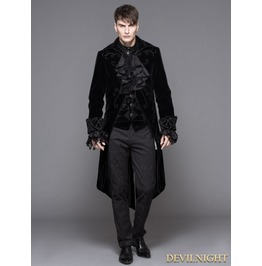 Black Gothic Palace Style Long Coat For Men Ct02801