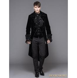 Black Gothic Palace Style Long Coat For Men Ct02801