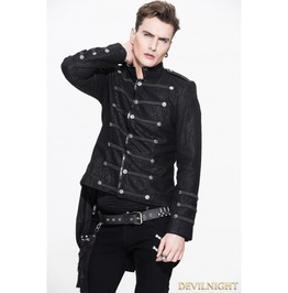 Black Double Breasted Gothic Military Style Short Jacket For Men Ct035