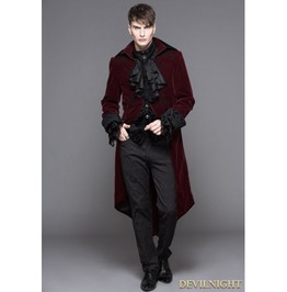 Wine Red Gothic Palace Style Long Coat For Men Ct02802
