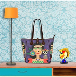 Frida Kahlo With Chihuahua & Sombrero Purple Tote Handbag