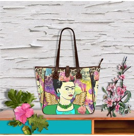 Frida Kahlo With Wings, Smiling Moon Art And Giraffe Print Tote Handbag