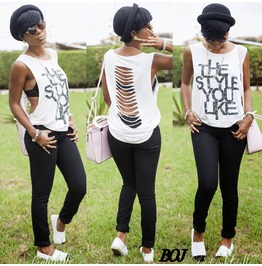 Fashion Letter Print Hollow Out White Tee