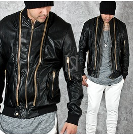 Gold Long Zippers Accent Black Slim Leather Jacket 228