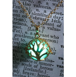 Teal Glowing Orb Gorgeous Tree Of Life Pendant Golden