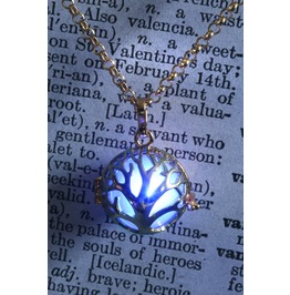 Blue Glowing Orb Mythical Tree Of Life Pendant Necklace Locket Golden