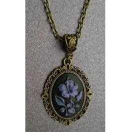 Gothic Victorian Bronze Tone Metal Filigree Purple Flower Cameo