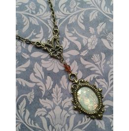 Gothic Steampunk Victorian Style Bronze Tone Imitation Opal Pendant Necklace