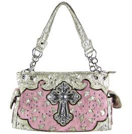 Pink Rhinestone Cross Stitched Shoulder Handbag