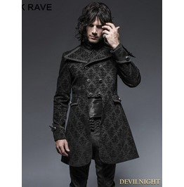 Black Gothic Script Box Pleat Jacket For Men Y 640