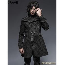 Black Gothic Script Box Pleat Jacket For Men Y 640