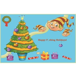 Happy F Cking Holidays! Paper Placemat Pad