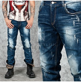 Distressed Partially Washed Blue Denim Jeans 241