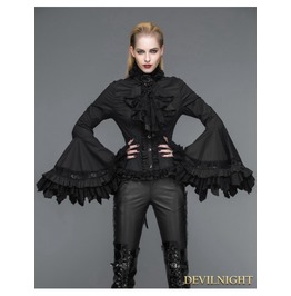 Black Gothic Palace Style Blouse For Women Sht00901