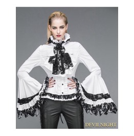 White Gothic Palace Style Blouse For Women Sht00902
