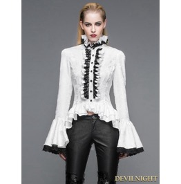 White Gothic Palace Style Jacquard Ruffles Blouse For Women Sht01702