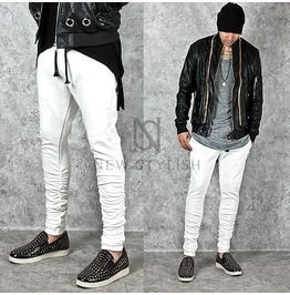 Shirring Calf Accent White Slim Sweatpants 212