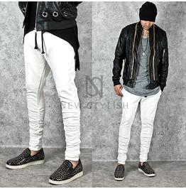 Shirring Calf Accent White Slim Sweatpants 212