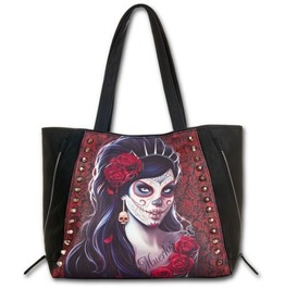 Spiral Hand Tote Bag Day Of The Dead Studded Gothic