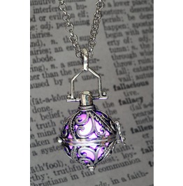 Ornate Silver Tone Fairy Locket With Purple Glowing Orb