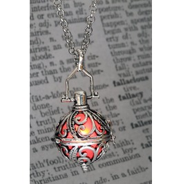 Ornate Silver Tone Fairy Locket With Red Glowing Orb
