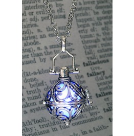 Ornate Silver Tone Fairy Locket With Blue Glowing Orb