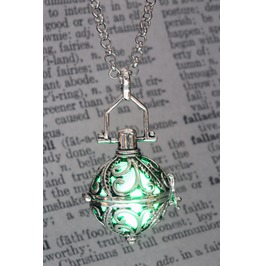 Ornate Silver Tone Fairy Locket With Green Glowing Orb