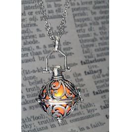 Ornate Silver Tone Fairy Locket With Orange Glowing Orb