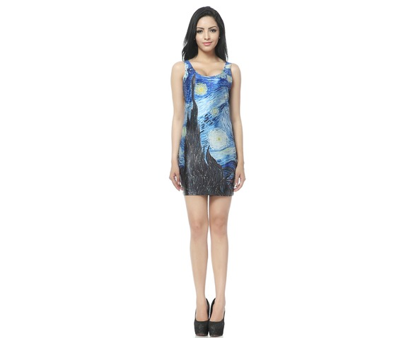 Oil Painting Starry Night Bodycon Dress Tank Tops_Dresses_6.jpg