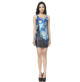 Oil Painting Starry Night Bodycon Dress Tank Tops