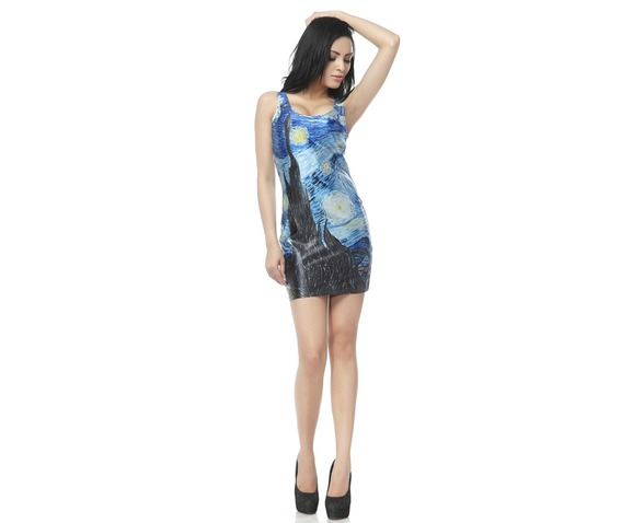 Oil Painting Starry Night Bodycon Dress Tank Tops_Dresses_4.jpg