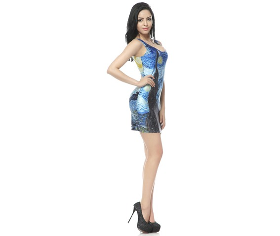 Oil Painting Starry Night Bodycon Dress Tank Tops_Dresses_3.jpg