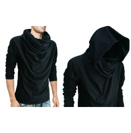 New Black Cowl Tunnel Neck Hood Cloak Long Sleeve Shirt Men S M L Xl Xxl