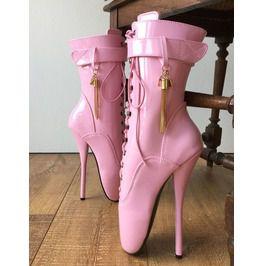 61abec5d78 18cm Fetish Ballet Calf Hi Boot Gold Metallic Tassel Charm Burlesque Patent