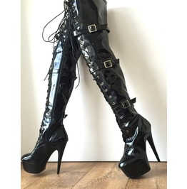 15cm Platform Laceup 60cm Mid Thigh Goth Punk Pinup Cosplay Patent Fetish