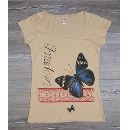 Vintage Butterflies Handpainted Ladies T Shirt