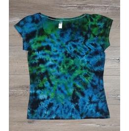 Tie Dye Blue Green&Black Ladies T Shirt