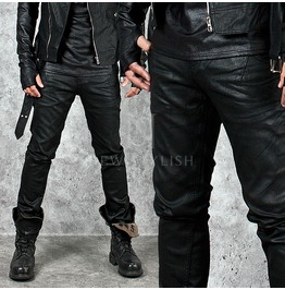 Plain Coated Black Slim Jeans 240