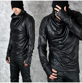 Crack Fabric Warmer Turtle Neck Black Shirts 608